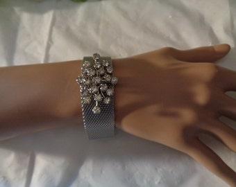 White Rhinestone Silver Mesh Band Bracelet Small Wrist