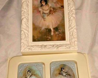 Vintage Avon BALLERINA SOAP Set & PICTURE Degas Prima Ballerina Pastel TuTu Unused Fragranced Guest Soaps New in Box Art Ballet Dancer Gift