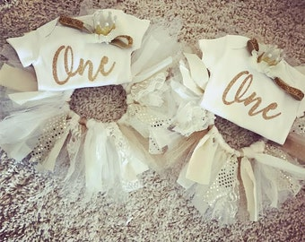 Gold and lace ONE tutu outfit-Request a custom order with custom colors