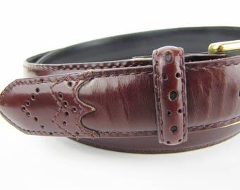 Leather Belt Men's Belt Oxblood Belt Solid Brass Buckle Hand Burnished Leather Dress Belt Size 36 Belt Father's Day Gift Gifts For Him