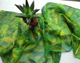 Silk Scarf Chiffon Silk Scarf Hand Painted Silk Scarf