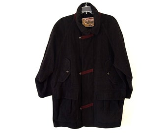 Vintage Rosner ® men black coat wool and cashmere