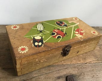Vintage Wood Bug and Beetles Box Enid Collins Collectable