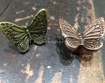 "Antique Bronze ""Butterfly"" rustic dresser drawer knobs/patterned knobs/decorative knobs/furniture knobs/unique cabinet knobs -36mmX31mmX21mm"