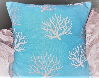 Pillow Cover, Pillow Cushion Cover, Coastal Blue/Turquoise, Coral/Beach/Ocean, Decorative Pillow Cover, 18 Inch Pillow Case, Sofa/Bed/Chair