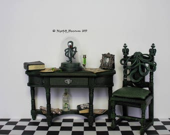 Dollhouse Miniature H P Lovecraft Cthulhu inspired cabinet and green leather chair 1:12 scale