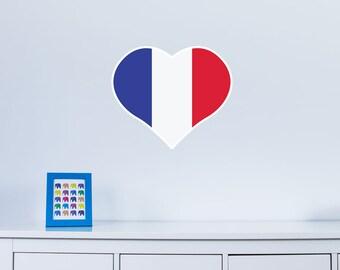Heart Shaped National Flag of France Vinyl Wall Art