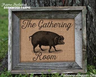 Framed Gathering Room Pig | Primitive | Hog | country | rustic | bbq | 68