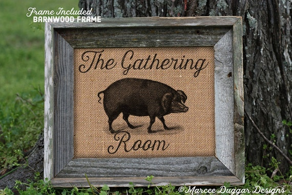 Framed Gathering Room Pig | Primitive | Hog | country | rustic | bbq | 68