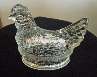 Vintage Clear Glass Chicken on Nest