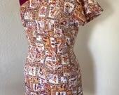 "1950s Vintage Style One Shoulder Playsuit Tiki Print  - Bust 36""- 38"" Size 12/14 M"