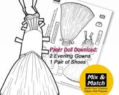 Paper Doll Evening Gowns-...