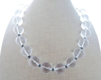 Clear crystal choker, crystal rock necklace, chunky necklace, grey hematite necklace, big bold necklace, beaded necklace, modern jewelry
