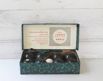 Vintage 1950s Carpet Bowling Set , Vintage B and A Carpet Bowling Set, Retro Indoor Game, Vintage English Carpet Bowls