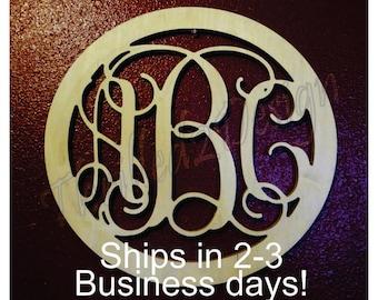 Solid Circle Border Vine Wooden Monogram Fast Ship - Wedding, Nursery, Home