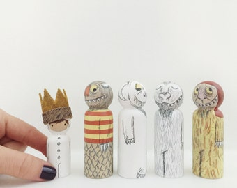 Max and wild friends peg doll set