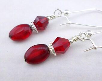 Red earrings,  claret earrings, silver earrings, crystal earrings, evening earrings, long earrings, formal earrings, scarlet earrings