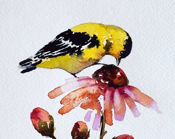 ORIGINAL Watercolor Goldfinch Painting, Yellow Bird Illustration, Colorful Flower 6x8 inch