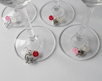 Love Wine Rings, Lover Gifts, Celebration Bottle Decor, Set of 4 Stem Glasses Decoration, Hostess Present, Anniversary Party Ideas,