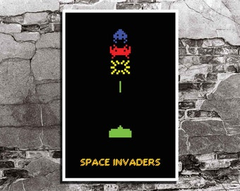 Space Invaders Classic Video Game Inspired - Movie Art Poster Print