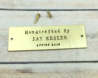 Hand Stamped Brass Tag, Personalized Metal Tag, Picture Frame Metal Tag, Custom Message Metal Tag, Metal Name Plaque, Stocking Name Label