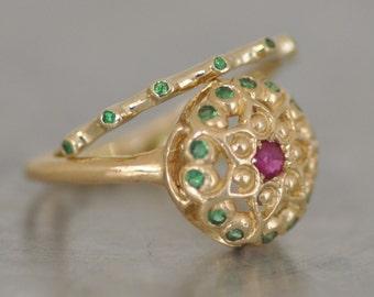 Gemstones Rings , Set Of Gold Rings , 14K gold set Of Rings , Tow Gold Gemstone Rings , Set of Statement Gold Rings, Set Of Stacking Rings