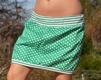 mini skirt, bubble skirt, green, dots