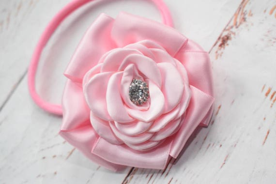 Baby pink special occasion rosette hairband - Baby / Toddler / Girls / Kids Elastic Flower  / Hairband / barette / Headband / photo prop /