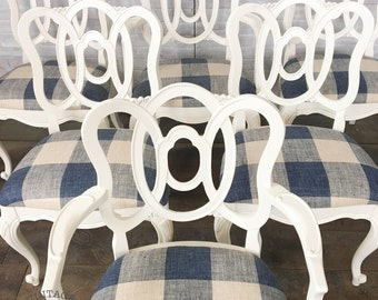 AVAILABLE: Set of Six - White Painted Dining Chairs w/ Buffalo Check Cushions