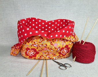 Knitting Project Bag, Flowers, red orange, stars, grab bag, crocheters bag