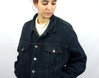 Vintage 90s Black / Dark Blue Jean Denim Jacket BUFFALO Men Women M