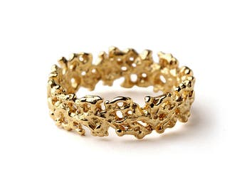CORAL Wedding Band, Yellow Gold Wedding Band Ring, Men's Wedding Band, Women's Wedding Band, Organic Ring