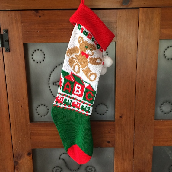 Vintage Teddy Bear Knit Ugly Christmas Stocking