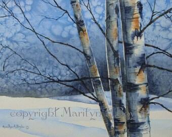 ORIGINAL WATERCOLOR PAINTING; Canadian art, wall art, winter landscape, birch trees, snow, nature, blue color