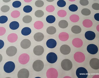 Flannel Fabric - Dot Prism Pink - 1 yard - 100% Cotton Flannel