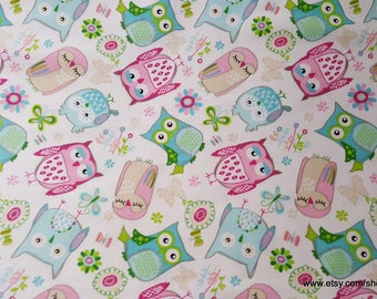 Flannel Fabric - Owls on White - 1 yard - 100% Cotton Flannel