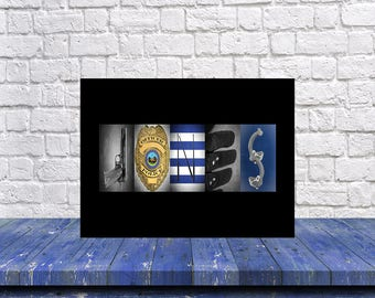 Policeman Gift, Fathers Day Gift, Police Officer, Police Gift, Police Fiance Gift, Husband Gift, Back the Blue, Personalized Policeman Gift