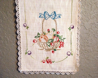 Hand Embroidered Dresser Scarf or Table Runner
