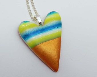 Polymer Clay Heart. Heart Necklace. Polymer Clay Heart Necklace. Pendant. Freeform Heart. Striped Heart