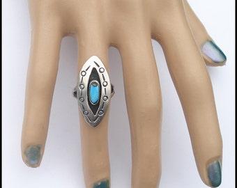 Vintage Sterling Silver Native American Design Shadowbox Iron Pyrite Matrix Turquoise Ring 6.5