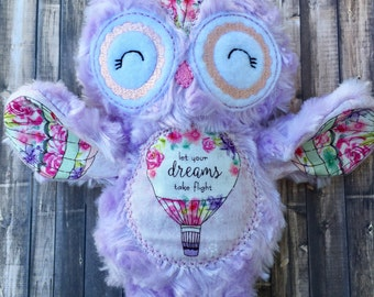 Let your dream take flight purple and floral large owl stuffie // owl stuffed animal