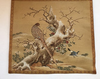Wonderful Vintage Mid-Century Small Asian Pheasant Wall Hanging