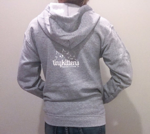 M - Grey - Official TinyKittens Hoodie (Unisex) - 100% of proceeds support rescue efforts!