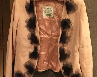 Vintage MOSCHINO Cheap & Chic Pink Salmon  Blazer Jacket with black pompom floral design US 6