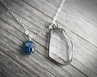 Gemstone Charm Necklace  Gemstone Pendant Necklace on Sterling Silver Chain