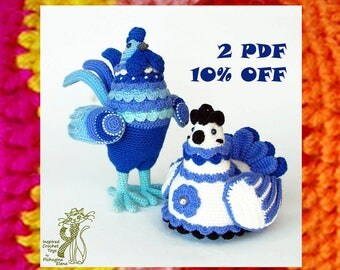 Amigurumi Patterns. Crochet Proud Rooster and his Lady Hen. DIY
