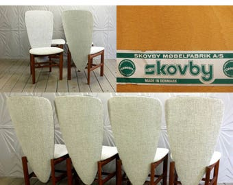 Skovby Set of 4 Danish Teak Dining Chairs Mid Century Modern Mobelfabrik A/S Made In Denmark New Fabric Unique Sculptural