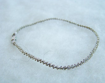 Vintage Sterling Silver Thin Long Spiral Rope Chain Bracelet Marked 925
