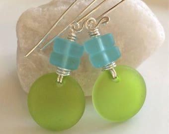 Aqua and Green Sea Glass Earrings / Beach Glass / Geometric Earrings / Cultured Sea Glass / Sterling Silver Earrings