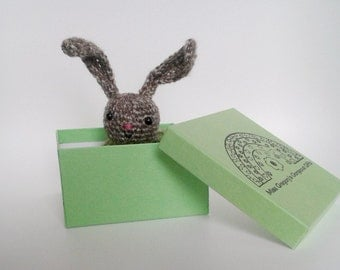 Brown Crocheted Amigurumi Bunny in a Bed, Gift Boxed, Crocheted Rabbit Soft Toy